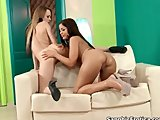 Hot brunette babe gets her wet pussy licked by an horny blonde lesbian