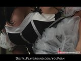 Girlfriend teases her man with her new maid outfit