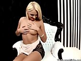 Hot blonde babe gets horny stripping and rubbing her pussy