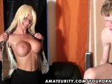 Young amateur guy enjoys a naughty busty Milf at home