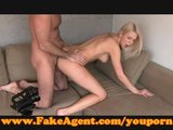 FakeAgent Blondie gets spunk all over her shaved pussy