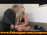 FakeAgent Blonde sex kitten gets spunk shower