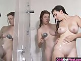 Amateur lesbian showering and fingering