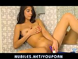Hot latina pleasures her big tits and tight pussy