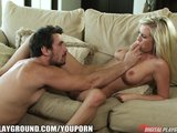 Busty blonde barbie Bibi Jones is fingered and face-fucked