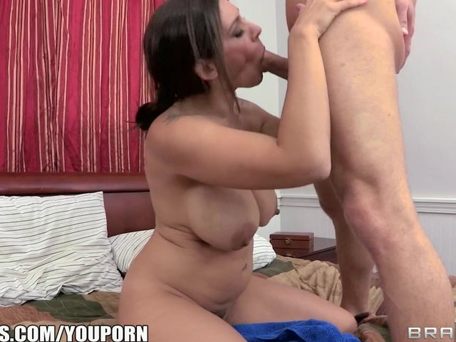 Blonde milf seduces sons best friend