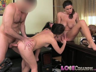 Love Creampie Petite shy girl loves anal creampie in casting threesome
