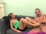 FemaleAgent MILF indulges stud in his foot fetish
