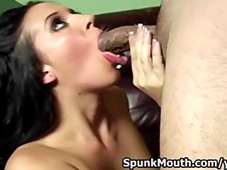 NewCumer Alexa Jordan shows her superb cocksucking skills and gets  a jizz on her sexy mouth