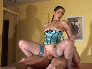 Fishnetstockings Reversecowgirl video: Hot slut with braided hair wants a cock in her ass - Telsev