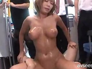 Busty Japanese Gangbang on Bus