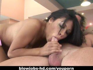 Teen Blowjob Brunette video: Latin hottie Cassandra Cruz devours that dick