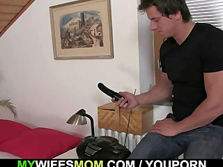 Toys loving mom sucks and rides his cock