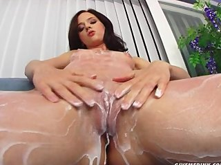 Toys Teen Brunette video: Give Me Pink Teen rubs pussy and fingers her supple ass on camera