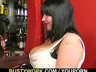 Bbw Tits Big Ass Big Boobs video: Huge barmaid take it from behind at workplace