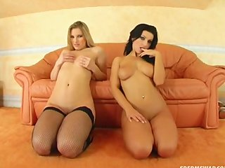 Blonde Brunette video: Sperm Swap Rough fuck for cum swapping sluts