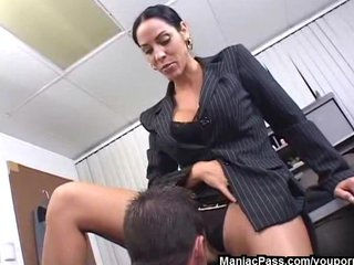 Brunette Facial Milf video: Veronica Rayne MILF office fuck