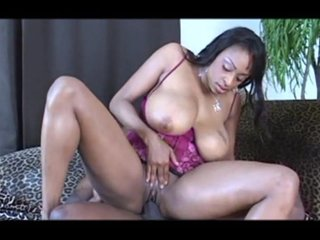 Cocksucking Cumontits video: Slut with big tits rides and fucks a big black cock