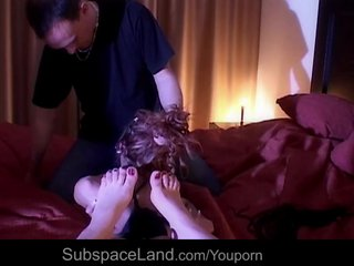 Blowjob Bound Fetish video: Sexy redhead bondaged and waxed at the shower
