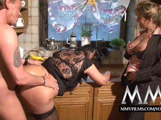Brunette Chubby Cum On Tits video: MMV Films Two mature wifes sharing a cock
