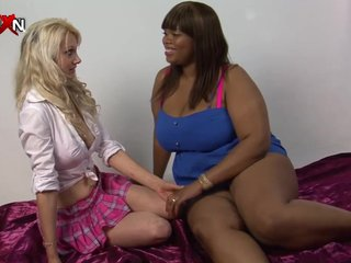 Ebony Toys Big Tits video: PornXN Petite blonde fist fucking an ebony BBW