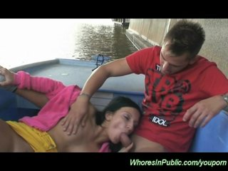 horny couple fucking on the see