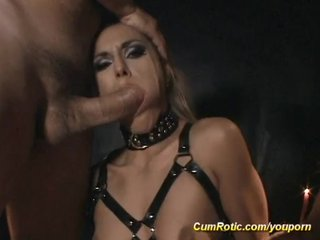 Bukkake Cum Cumshot video: Slut gets cum in BDSM action