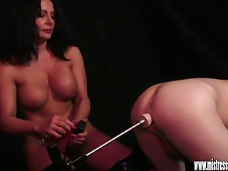 Anal Masturbation video: Busty mistress anal fucks slave with spunk lubed sex machine toy