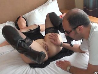 Anal Sex Submissive movie: Attached, blindfolded and fucked at the hotel