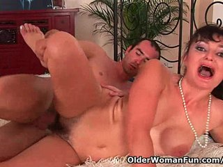 Hairy soccer mom unloads the neighbor's dick