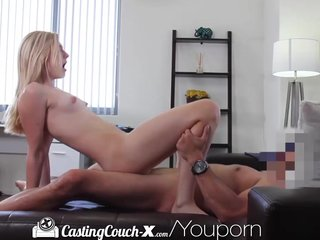 Blonde Cheerleader Facial video: Casting Couch-X Blonde cheerleader shows off on cam