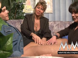 Lingerie Blowjob xxx: MMV Films Mature teacher having fun with a coupleTITLE: click to edit