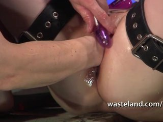 Blonde Domination Fisting video: Blonde is bound in chains and fisted by her master