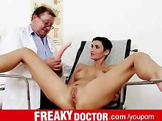Classy European Clinic video: Wicked doctor fingers sporty babe Gabrielle Gucci