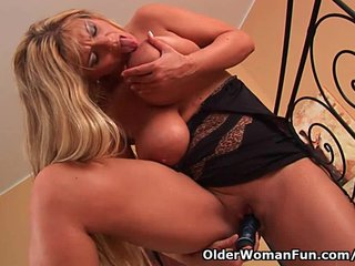 Big Milf Tits Big Old Tits Busty Mature video: Mature mom with big boobs fucks a dildo