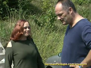 German Amateur Public video: Picked up gal shows beaver to camera