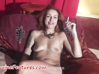 Nasty czech MILF plays with guy in backstage