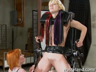Fetish Blonde Redhead video: Ginger dominatrix plays with blondes pussy like a toy