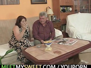 Teen Threesome Mature video: Old parents fuck her as he leaves