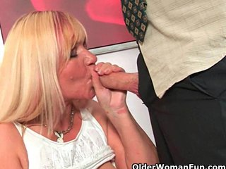 Mature moms taking cumshot on tits and in mouth