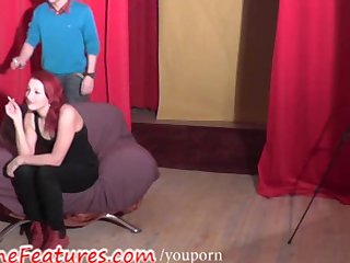 Backstage Behind The Scene Couple video: Czech redhead has fun in backstage