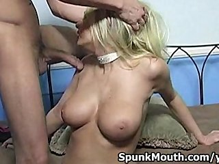 Big Boobs Blonde Blowjob vid: Busty Blonde Riley Evans sucks fat cock then gets cum in mouth