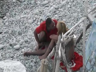 Skinny nudist fucked in beach