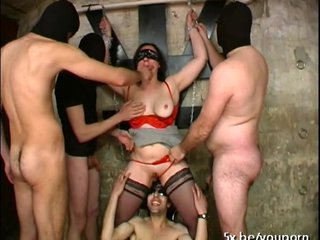 Anal French Gangbang video: He shared his wife Sylvie in a gangbang