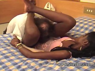Interracial Femdom Fetish video: Riding his face hard with black pussy