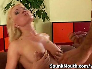 Oral Blonde Blowjob video: Blonde beauty Anastasia tittyfucks rides cock for cum on tits