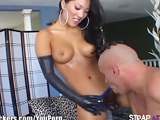Asian Strapon Femdom video: StrapAttackers Asa Akira pegging horny guy