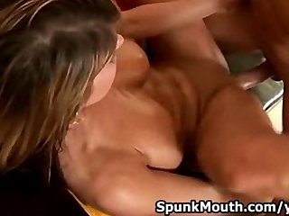 Blowjob Shaved Big Tits video: Porno Rookie Kate Jones Sucks and Fucks cock for a Nice Cumshot