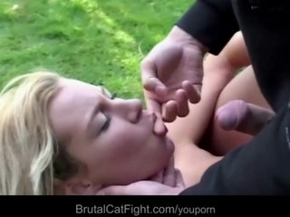 Porno video: Hysterical blondes tear apart each other in a crazy fight to fuck a cock