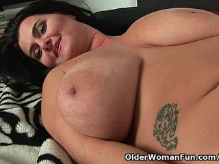 Soccer Mom Hot Milf Busty Cougar video: Soccer moms with natural big tits having solo sex